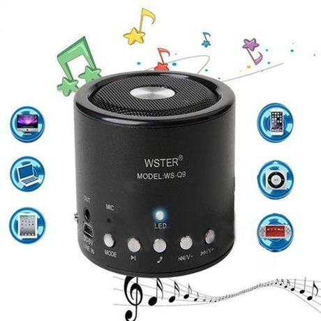 Безжична Wireless/ USB/ Radio/ MP3/ AUX мини тонколонка WS-Q9